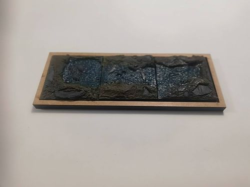 Pack of 3 pedestals of 40x40mm water theme / magma