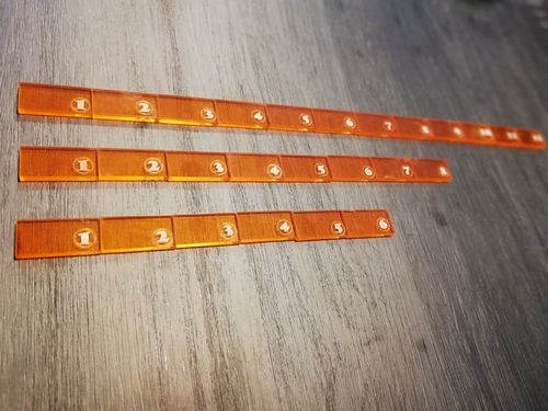 "Rule pack of 4 ""6"" 8 ""and 12"" in orange methacrylate"